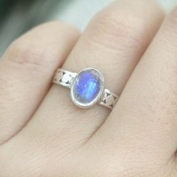 Handmade Cute Nature Moonstone Silver Ring