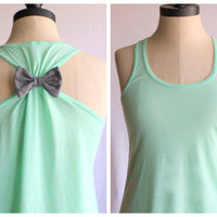 Mint Bow Tank Top  MEDIUM  Limited Edition by personTen on Etsy