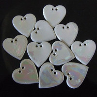 Porcelain Pearl Heart Shape Button, embroidery supplies