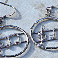 Earrings Music Note Woman Hoop Direct Checkout Glitter Ready to Ship