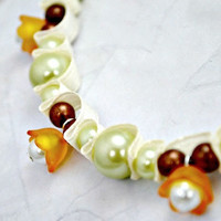 Orange bell flower and glass pearl necklace. Beaded ribbon jewelry.  Copper beads. Ivory ribbon. Mint green pearls. Ships free.