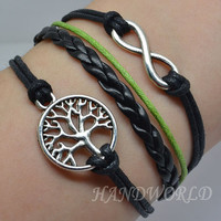 Silvery Wishing Tree Bracelet Infinity Karma bracelet Wish Bracelet Personalized Bracelet Women Or Men Bracelet -N1146