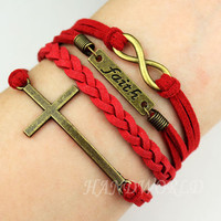 Bangle Cuff Bracelet Bronze Love&amp; Cross Bracelet ,Infinity Karma Bracelet Wish Bracelet Personalized Bracelet Jewelry Bracelet Gift  -N1141