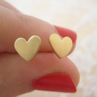 Tiny Golden Heart Post Earrings by ClementinesJewelry on Etsy
