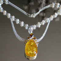 Silver Amber Pearl Necklace Victorian, Fresh Water Pearls, Hard, 18g, 925 Silver Snap jumprings, 925 Silver Chains, Genuine Gemstone