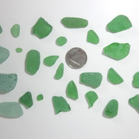Genuine Sea Beach Glass Green light green Over 25 pieces surf tumbled Mexico