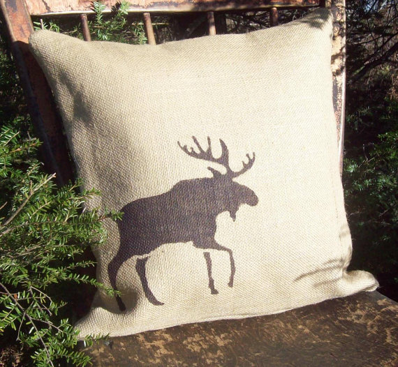 Decorative Moose Pillows : Burlap Moose Decorative Pillow Cover 16 x from North Country