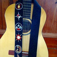 Hand Embroidered Guitar StrapEmbroidered Siouxian Motif by Meoneil