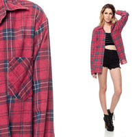 Red Plaid Shirt 90s Faded FLANNEL Long Sleeve Button Up GRUNGE Blue 1990s Lumberjack Vintage Hipster Slouchy Women Men Extra Small Medium