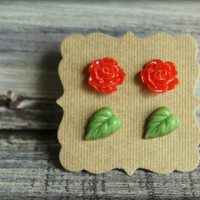 Rose and Leaf Earring Duo Set Red Rose and by saffronandsaege