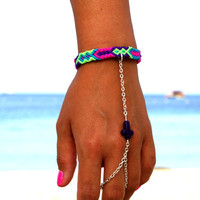 Purple Cross Handpiece. Bright neon friendship bracelet.