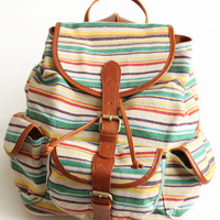 Wanderlust Striped Backpack - &amp;#36;58.00 : ThreadSence.com, Your Spot For Indie Clothing &amp; Indie Urban Culture
