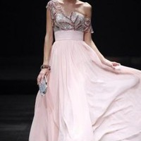 Pink Prom Dress - Pink Beaded Chiffon Evening Dress | UsTrendy