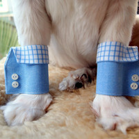 Blue Checkered Dog Shirt Cuffs by furkidscloset on Etsy