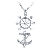 Clear Crystal Rhinestone Wheel Anchor Sailor Navy Symbol Custom Pendant Necklace