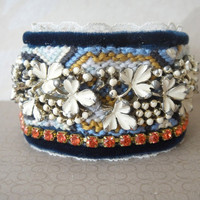 Vintage rhinestone friendship cuff bracelet  by OOAKjewelz on Etsy