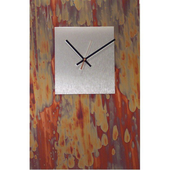 Huge Modern Oxidized Copper Clock with Brushed by astrokeofgenius