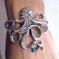 Silver Octopus with Starfish charm Bracelet by pier7craft