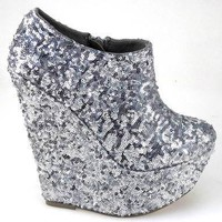 LADIES SILVER SEQUIN GLITTER PLATFORM HIGH WEDGE HEELS ANKLE SHOE BOOTS SIZE 3-8