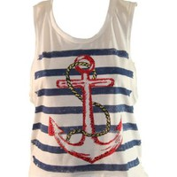 White Tank Top w/ Navy Blue Stripes & Red Anchor and Rope Design (Small): Clothing
