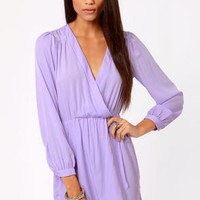 That's a Wrap Lavender Long Sleeve Dress