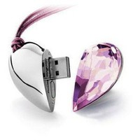 8GB Shiny Crystal Heart Shape USB Flash Drive with Necklace,light pink: Computers &amp; Accessories
