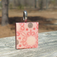 Scrabble (c) Tile Pendant Pink Red and Gray Pattern