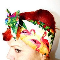 Bow style, Vintage Inspired Head Scarf, Pink Flamingos, Retro, Trailer Park, Rockabilly, Hawaiian, 1950s