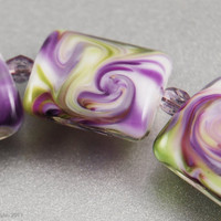 Violet Swirls - Handmade Lampwork Beads, Glass Square Nuggets, Purple, Green, SRA