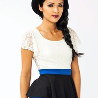lace-peplum-top FUCHIVORY ROYALIVORY - GoJane.com