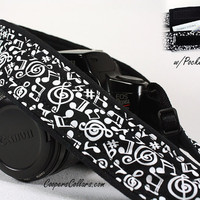 Camera Strap with Pocket, dSLR, Notes in Black and White, SLR