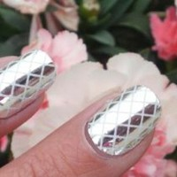 Silver Criss Cross Nail Foil Wraps polish strips stickers for Fingers and Toes by Miss Silver: Beauty