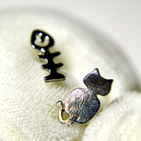 Cat and Fish Earring #love #heart #animal