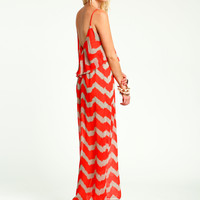Red  Zig Zag Maxi Dress