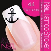 Nailart NAIL TATTOO STICKER - Maritime / Navy / Anchor - black: Beauty