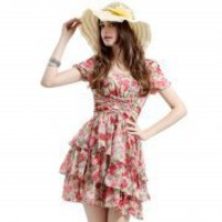 Bqueen Short-sleeved Silk Chiffon Dress Q10306R - Designer Shoes|Bqueenshoes.com