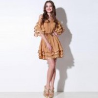 Bqueen Round Neck Chiffon Dress Q12139Y - Designer Shoes|Bqueenshoes.com