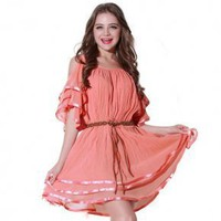 Bqueen Round Neck Chiffon Dress Q12139F - Designer Shoes|Bqueenshoes.com
