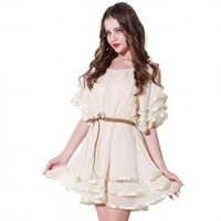 Bqueen Round Neck Chiffon Dress Q12139X - Designer Shoes|Bqueenshoes.com