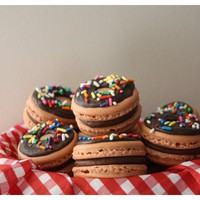 Chocolate Donut French Macarons