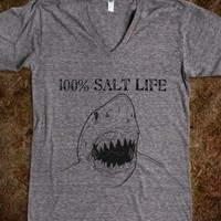 100% Salt Life Shark V-neck tee - One of a Kind Designs - Skreened T-shirts, Organic Shirts, Hoodies, Kids Tees, Baby One-Pieces and Tote Bags