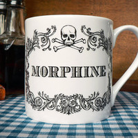 Apothecary Morphine Mug. New coffee mug, tea cup, coffee cup with skull illustration. Home decor.