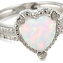 Heart Shape .03 CTTW Diamonds in Silver Created Opal Ring, Size 6