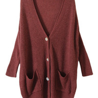 ROMWE | Oversized Shell Button Rust Red Cardigan, The Latest Street Fashion