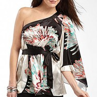 XOXO Juniors Scarf-Print One-Shoulder Top : jcpenney