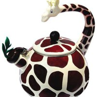 Animal Kettle 2.5 Quart Whistling Enamel on Steel Giraffe Tea Kettle: Kitchen & Dining