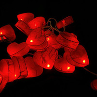 Red Heart Mulberry Paper Party Mixed Color Set String Lights For Wedding and House decoration (20 Flowers/Set)