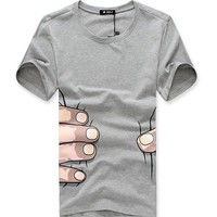 Free Shipping Men Light Grey Funny Printed T-Shirt M/L/XL/XXL 1998-T08lg