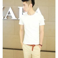 Free Shipping Men White Solid Color Shirt M/L/XL 1111-T086w