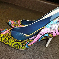 Hip Hop Won't Stop HandPainted Graffiti Pumps Shoes by DezineAD9